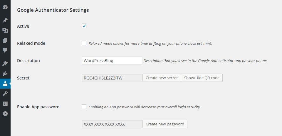 Настройка плагина Google Authenticator